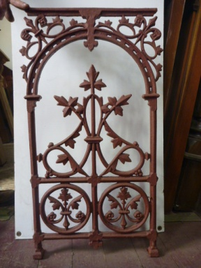 Balustrade panels, cast iron x 6, additional panels can be recast to order Original Victorian verandah balustrade panels cast iron, grit blasted and coated with structural primer. w 413 x h 810, $220 each Additional panels can be recast to order, contact us for prices salvage recycled demolition, reproduction restoration, renovation, collectable, secondhand, used, original, old, reclaimed heritage, antique restored
