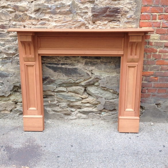 Lock mantel, fire surround fireplace solid timber, locally made. Top shelf width 1480mm Outer leg width 1400mm Height 1200mm Opening size 905 x 905mm $780