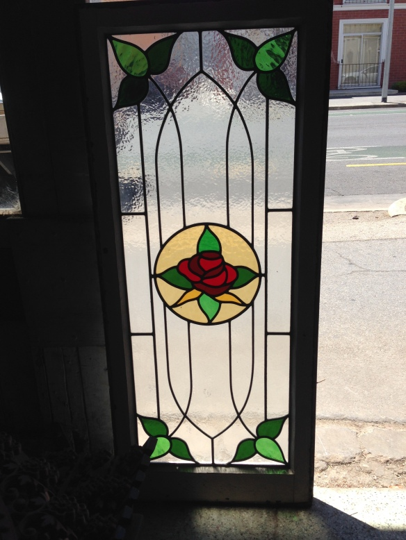 leadlight window in frame, frame size 520mm x 1210 mm, glass size 397mm x 1045mm, $330 salvage recycled demolition, secondhand, used, original, old, heritage, antique, red, green , yellow , clear ripple