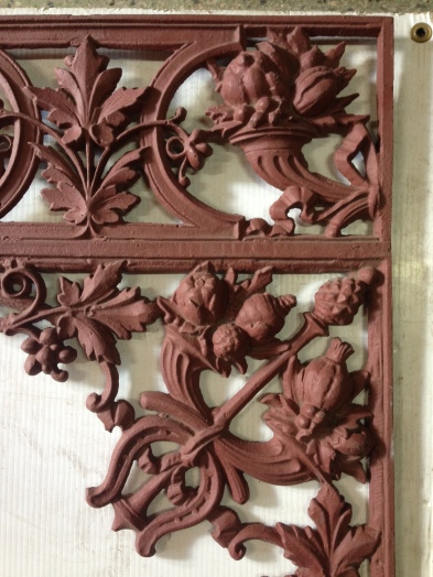 salvage recycled demolition, secondhand, used, original, old, heritage, antique Original Victorian cast iron verandah lacework set. Cornucopia design with horseOriginal decorative blacksmith forged panels (detail), ex-original Adelaide Railway Station 2 x $750 eachshoe. 12 corners - height approx 610mm, approx 2.4m of valance lengths. 2 drops. Additional pieces can be recast to order.