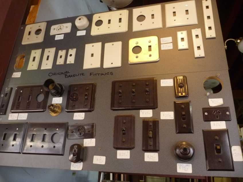 Original Bakelite switches and plates salvaged, recycled, demolition, reproduction, restoration, home renovation secondhand, used , original, old, reclaimed, heritage, antique, victorian, art nouveau edwardian, georgian, art deco