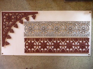 verandah lacework corners and valance eight point flower, grit blasted and coated with structural primer. $75 each corner, valance lengths $100/m verandah lacework corners and valance eight point flower salvage recycled demolition, reproduction restoration, renovation, collectable, secondhand, used, original, old, reclaimed heritage, antique restored