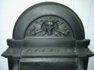 Grand Victorian cast iron freestanding fire basket with dogs. (detail) with face, flaming torches and snakes! w 900 x h 700 x d 450mm $745 Grand Victorian cast iron fireplace original (detail) with face, flaming torches and snakes! grand Victorian cast iron fireplace original (detail) salvage recycled demolition, secondhand, used, original, old, heritage, antique