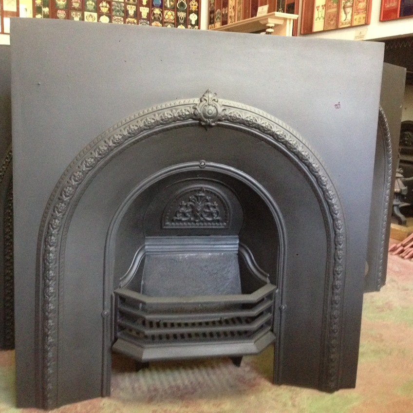 Original restored cast iron arch fire grate insert $550 salvage recycled demolition, reproduction restoration, renovation, collectable, secondhand, used, original, old, reclaimed heritage, antique restored