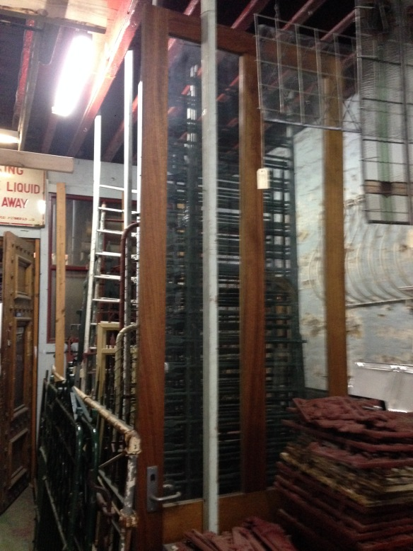 Tall timber frame door glass panels 3000h x 1067w $270 inc gst salvage recycled demolition, reproduction restoration, renovation, collectable, secondhand, used, original, old, reclaimed heritage, antique restored