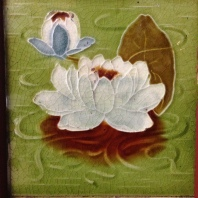 Original fireplace picture tiles $27.50 each. lotus water lily green white flower