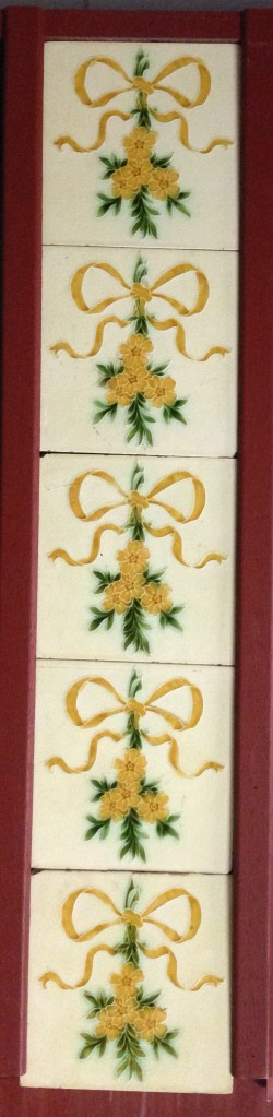 original Pilkington Tile &Pottery Co fireplace tiles (c1892-1909), yellow flowers and ribbon on cream/pale yellow background 10 tile full set $275 OTB salvaged recycled demolition, reproduction, restoration, renovation,collectable, secondhand, used , original, old, reclaimed, heritage, antique, victorian, edwardian, georgian art nouveau ceramic arts and crafts decorative aesthetic