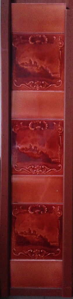 Original fireplace picture tile set x 2 panels, castle design. $181 for both panels salvage recycled demolition, secondhand, used, original, old, heritage, antique salvage recycled demolition, reproduction restoration, renovation, collectable, secondhand, used, original, old, reclaimed heritage, antique restored