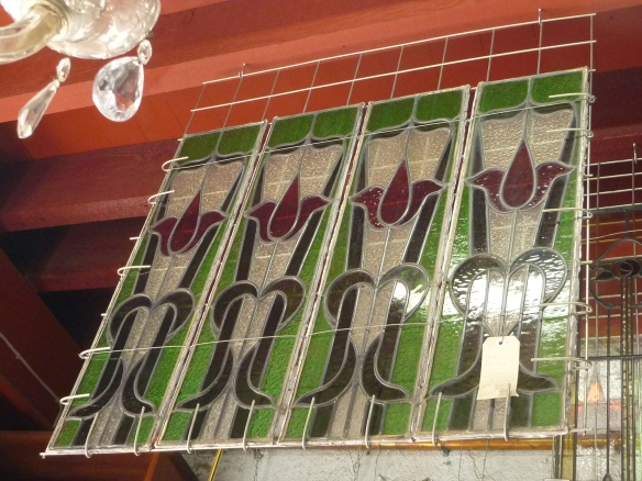 leadlight window panels, red and green tulip design, four matching panels - can split, w 215 x h 810mm $245 each salvage recycled demolition, reproduction restoration, renovation, collectable, secondhand, used, original, old, reclaimed heritage, antique restored stained glass