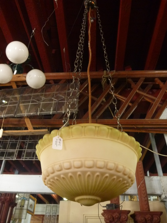 Three chain pendant light, moulded glass, pale yellow/buff colour with olive green shading, diam approx. 300mm $200