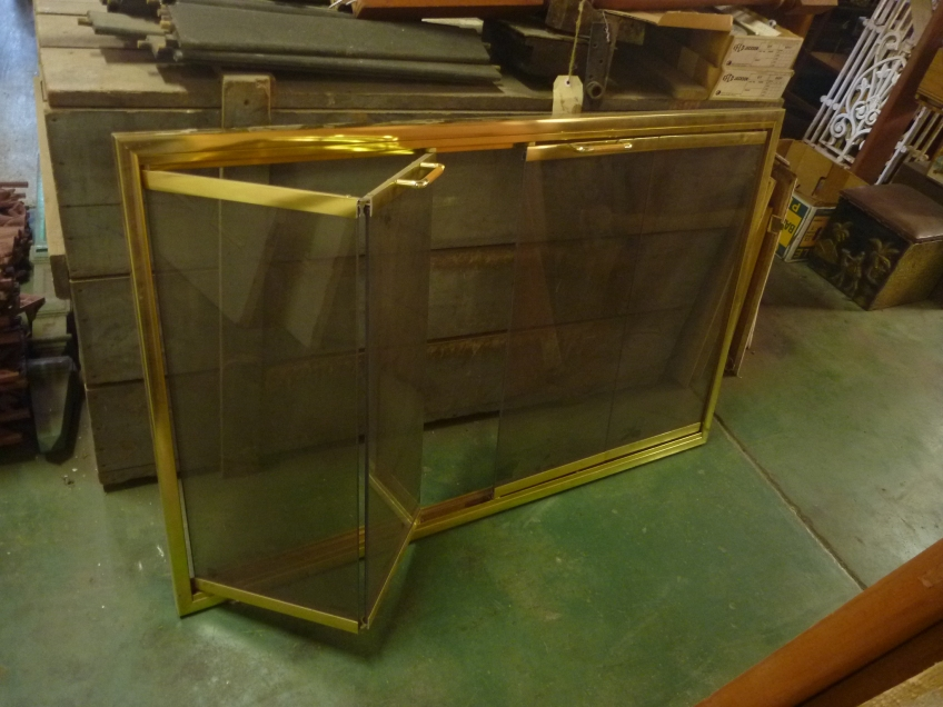 gold frame, tinted glass fire screen, bifold opening panels. w1140 x h725 salvage recycled demolition, reproduction restoration, renovation, collectable, secondhand, used, original, old, reclaimed heritage, antique restored