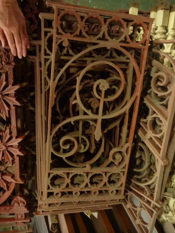 Verandah balustrade panels, cast iron, music note motif, 11 available, H635 x W340mm, $145 each f salvage recycled demolition, reproduction restoration, renovation, collectable, secondhand, used, original, old, reclaimed heritage, antique restored