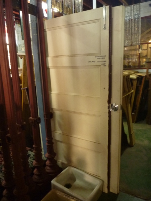 Large pair of double doors, ex-Walkerville Town Hall, width 2110mm x height 2070mm $545salvage recycled demolition, reproduction restoration, renovation, collectable, secondhand, used, original, old, reclaimed heritage, antique restored