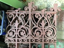 Original cast iron fence panels, approx. total length 8m. Each panel w 730 x h 690mm $245 each panel salvage recycled demolition, secondhand, used, original, old, heritage, antique