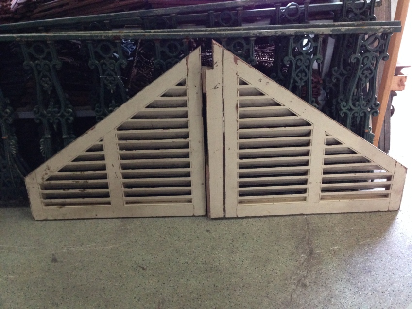 Timber gable ends, louvred, w1980 x h840 apex, h240 wing $240 salvage recycled demolition, reproduction restoration, renovation, collectable, secondhand, used, original, old, reclaimed heritage, antique salvage recycled demolition, reproduction restoration, renovation, collectable, secondhand, used, original, old, reclaimed heritage, antique restored