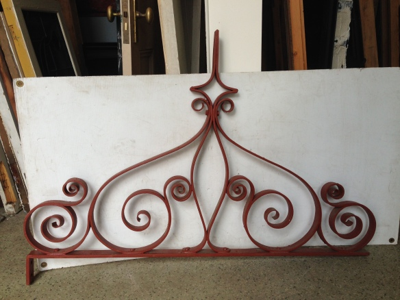 Original wrought iron Victorian overhead gate decoration, $400 salvage recycled demolition, secondhand, used, original, old, heritage, antique