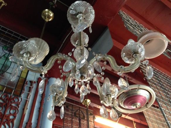 Glass chandelier five pendant $245