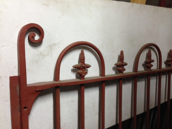 Original Victorian driveway gate pair with blacksmith and cast work, approx. w 2740 x h 1540mm as is, one scroll is missing, $1800 salvage recycled demolition, secondhand, used, original, old, heritage, antique