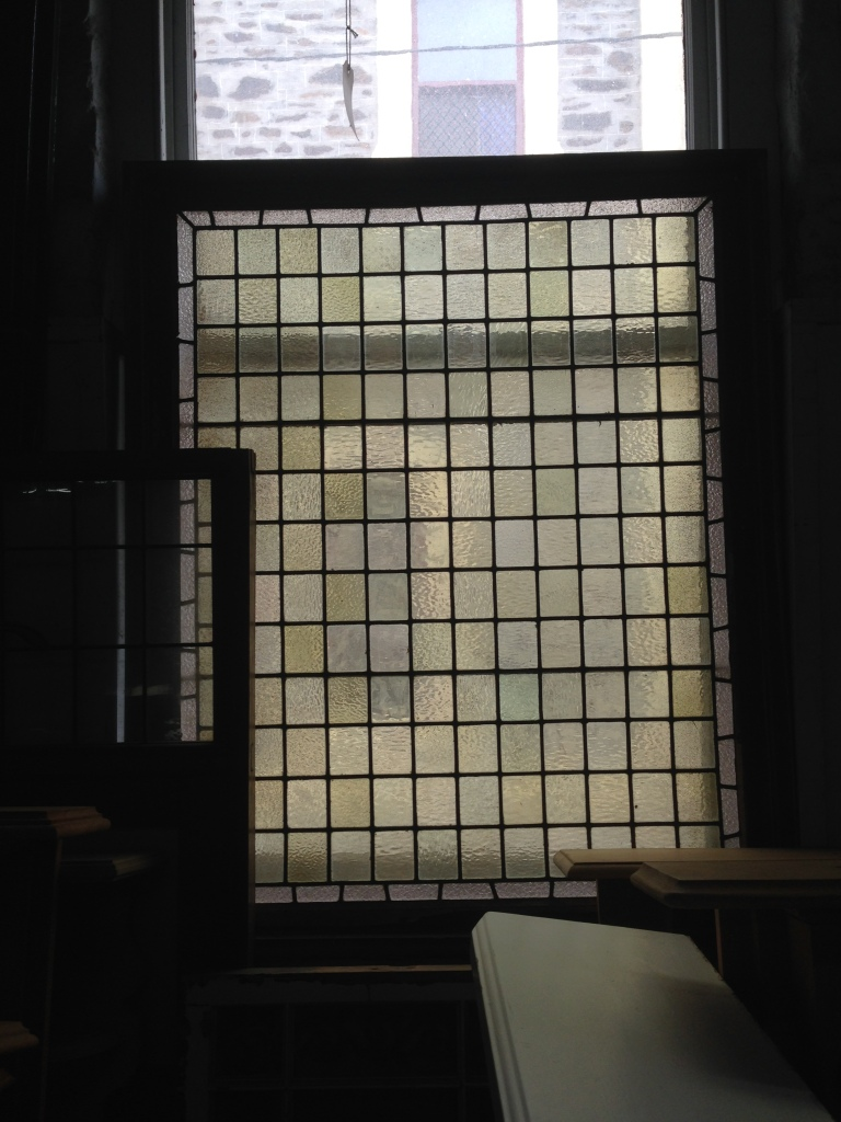 Leadlight window, pale yellows, frame size w1130 x h1320 $400 salvage recycled demolition, reproduction restoration, renovation, collectable, secondhand, used, original, old, reclaimed heritage, antique restored stained glass