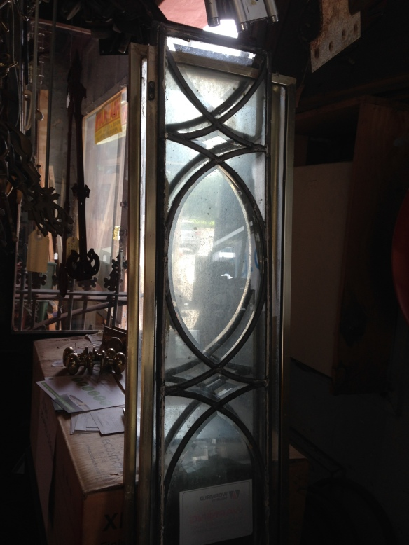 Leadlight side lights x 2, bevelled glass 1850 x 195 $250 inc gst each salvage recycled demolition, reproduction restoration, renovation, collectable, secondhand, used, original, old, reclaimed heritage, antique restored stained glass