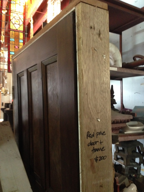 Red pine Bungalow door in frame w 873 x h 2028mm $200 salvage recycled demolition, secondhand, used, original, old, heritage, antique