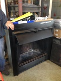Large wood burner, 'Old Charm Super' with ashpan and screen w1280 x h1230 x d540mm (depth is back from wall face) Two available $1200 incl gst each salvage recycled demolition, reproduction restoration, renovation, collectable, secondhand, used, original, old, reclaimed heritage, antique