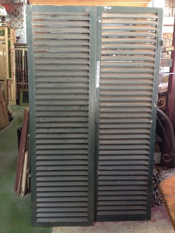 Window shutters timber louvres, w1170 x 2005mm $275 inc gst salvage recycled demolition, reproduction restoration, renovation, collectable, secondhand, used, original, old, reclaimed heritage, antique restored