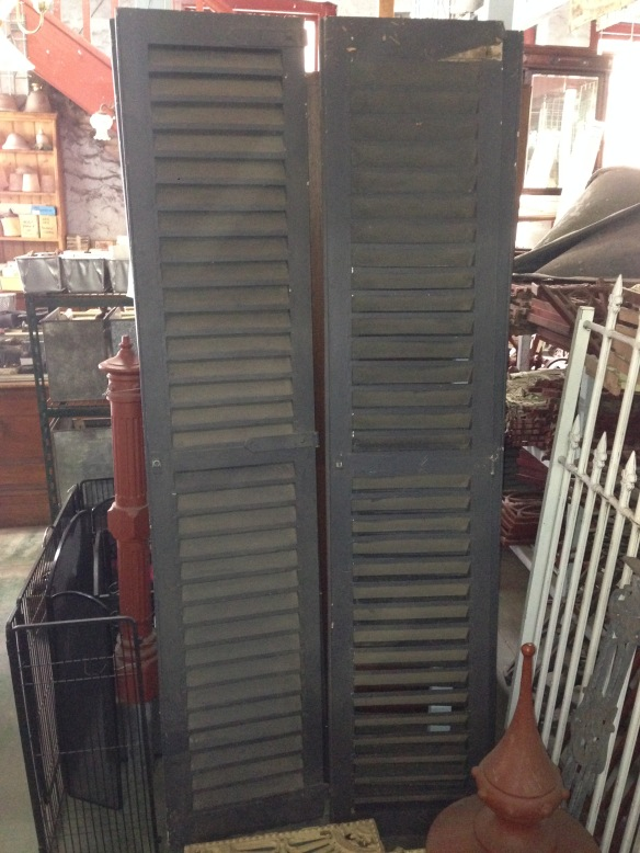 Window shutters timber louvres, approx. 880w x 2025mm $275 inc gst salvage recycled demolition, reproduction restoration, renovation, collectable, secondhand, used, original, old, reclaimed heritage, antique restored