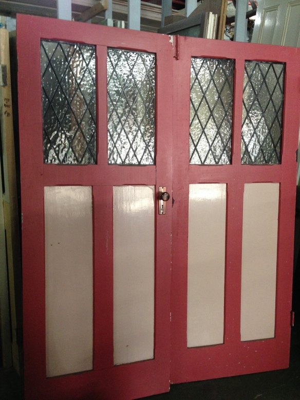 French doors, leadlight lattice panels. 1630 x 2020mm $440 salvage recycled demolition, reproduction restoration, renovation, collectable, secondhand, used, original, old, reclaimed heritage, antique restored