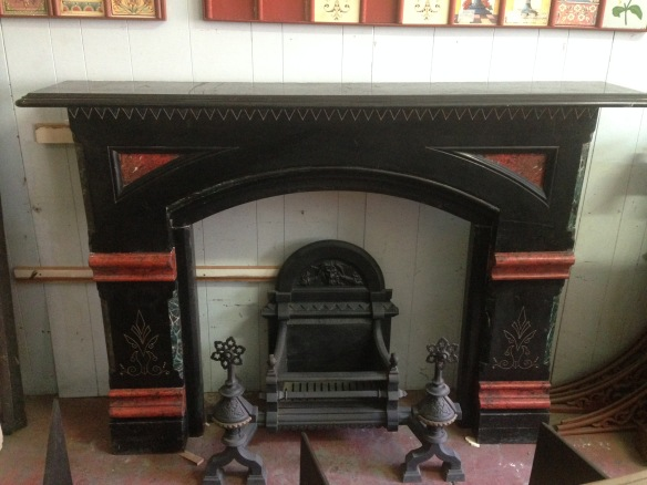 Slate mantel original, marble paint detail top shelf width 1830mm $2200