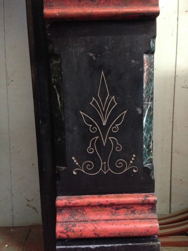 Slate mantel original, marble paint detail