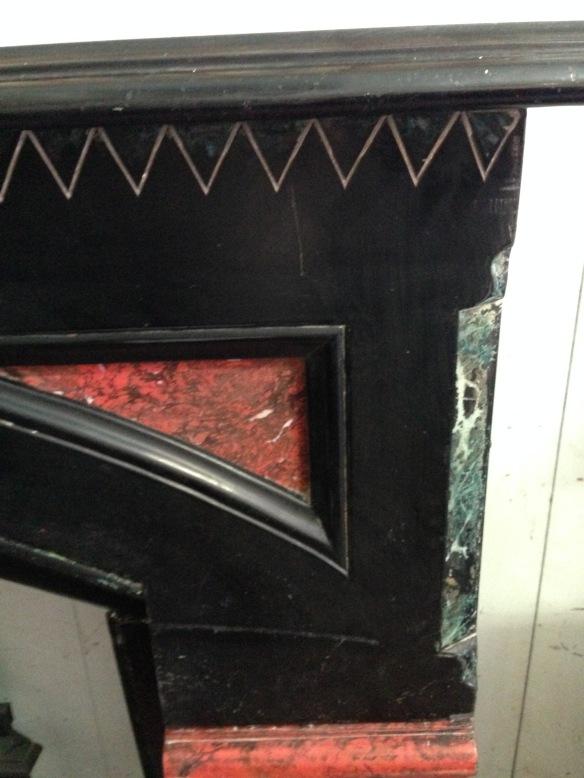 Slate mantel original, marble paint detail