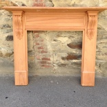 York mantel, solid timber, locally made. Top shelf width 1480mm Outer leg width 1345mm Height 1200mm Opening size 905 x 905mm