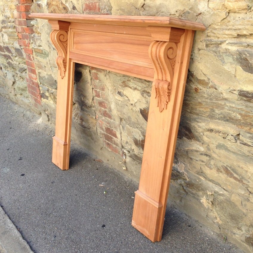 York mantel, solid timber, locally made, Victorian scrolls / corbels. Top shelf width 1480mm Outer leg width 1345mm Height 1200mm Opening size 905 x 905mm $950 salvaged, recycled, demolition, reproduction, restoration, home renovation secondhand, used , original, old, reclaimed, heritage, antique, victorian, art nouveau edwardian, georgian, art deco