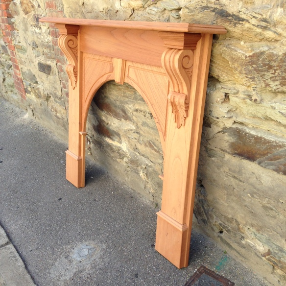 Evandale mantel, fire surround fireplace solid timber, locally made. Approx dimensions - Top shelf width 1480mm Outer leg width 1345mm Height 1200mm Opening size w900 x h880mm $830