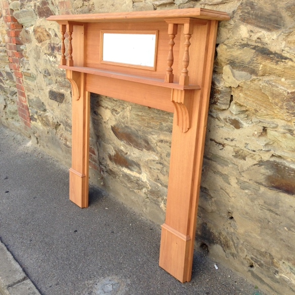 Edwardian double shelf fire surround fireplace mantel, solid timber, locally made. Top shelf width 1480mm Outer leg width 1400mm Height 1400mm Opening size 905 x 905mm $850