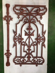 Original Victorian cast iron balustrade h 812 x w 450mm $220 with matching intermediate post $49.50 [20 x panels 28/1/16] salvage recycled demolition, secondhand, used, original, old, heritage, antique latticework