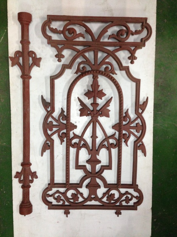 Original Victorian cast iron balustrade h 812 x w 450mm $220 with matching intermediate post $49.50 [20 x panels 28/1/16] salvage recycled demolition, secondhand, used, original, old, heritage, antique latticework salvage recycled demolition, reproduction restoration, renovation, collectable, secondhand, used, original, old, reclaimed heritage, antique restored