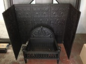Gothic freestanding cast iron fire basket $365 Cast iron backing plates to line fireplace opening $440 salvage recycled demolition, secondhand, used, original, old, heritage, antique