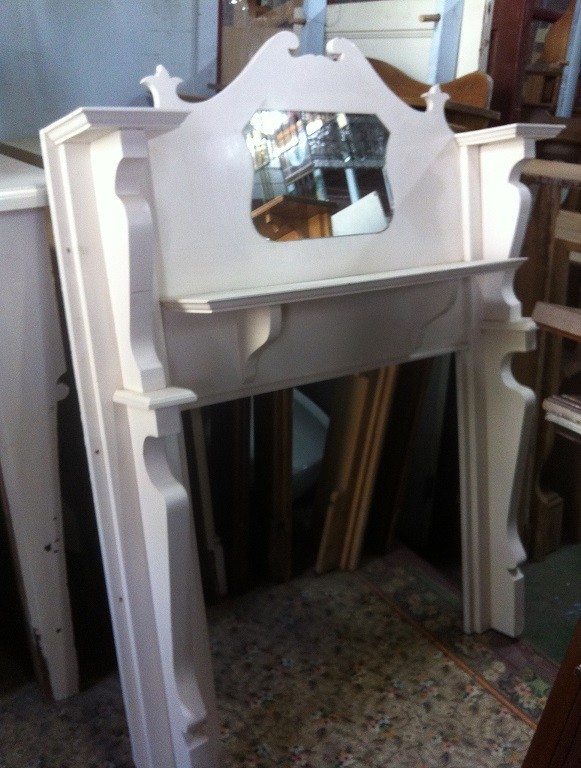 Bungalow painted timber mantel, (later application of mirror to front), top shelf w1350mm $250 salvage recycled demolition, reproduction restoration, renovation, collectable, secondhand, used, original, old, reclaimed heritage, antique restored