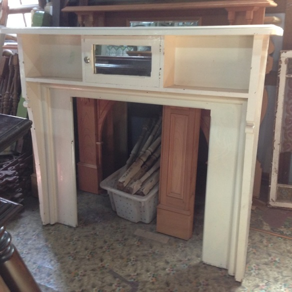 Circa 1915 painted timber mantel, mirrored central cupboard, width 1550mm x height 1355mm $3001550 x h 1355mm $300 salvaged, recycled, demolition, reproduction, restoration, renovation,collectable, secondhand, used , original, old, reclaimed, heritage, antique, victorian, art nouveau edwardian, georgian, art deco Circa 1915 painted timber mantel 1550 x h 1355mm $300salvage recycled demolition, secondhand, used, original, old, heritage, antique timber mantel suround mantel mantle mantelpiece surround fireplace salvage recycled demolition, reproduction restoration, renovation, collectable, secondhand, used, original, old, reclaimed heritage, mantle mantel surround fireplace antique restored