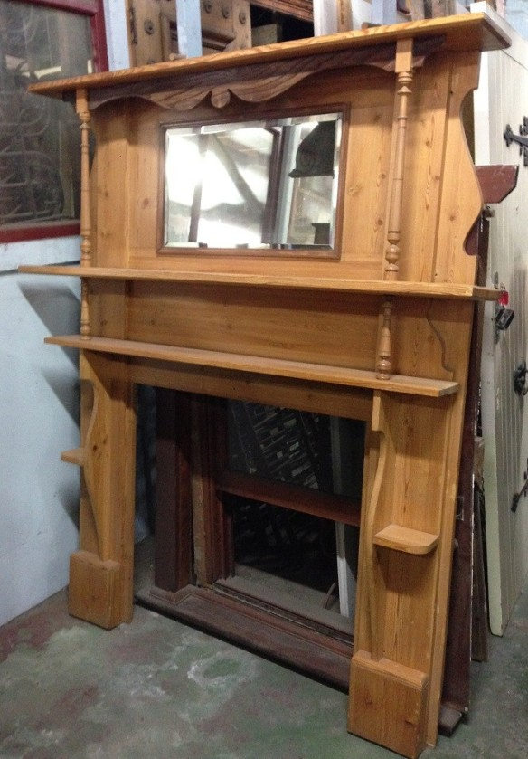 Tall Edwardian timber mantel, light pine polish, top shelf w1525mm $875 salvage recycled demolition, secondhand, used, original, old, heritage, antiquemantel mantle mantelpiece surround fireplace