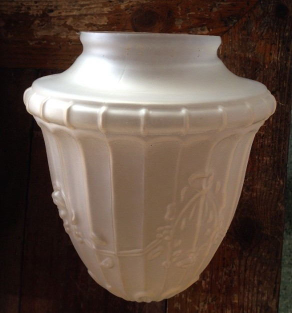 Clear frosted light shade, acorn shape 170mm diam, $15