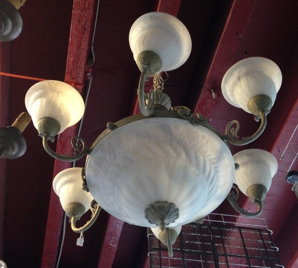 Unusual six pendant ceiling light, glass bowl and shades, approx. diam 800mm $450