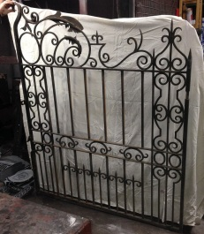 Ornate wrought iron driveway gate pair, each half is w1500 x h1840mm to suit opening width of approx 3075 -3100mm $2250 salvage recycled demolition, reproduction restoration, renovation, collectable, secondhand, used, original, old, reclaimed heritage, antique restored