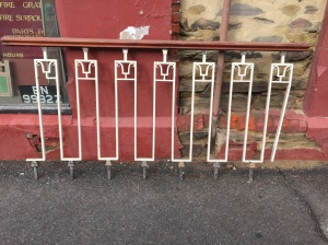 Original wrought iron balustrade panels with timber rail, ex-bank. 1930 x 1030mm $440 salvage recycled demolition, reproduction restoration, renovation, collectable, secondhand, used, original, old, reclaimed heritage, antique restored
