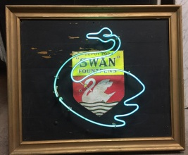 Neon Swan Fountain Pen, blue neon sign, working, $440 salvage recycled demolition, reproduction restoration, renovation, collectable, secondhand, used, original, old, reclaimed heritage, antique