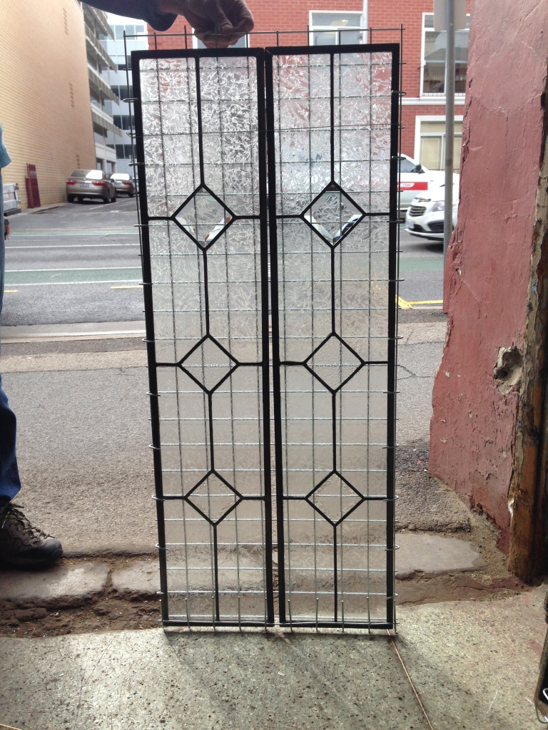 Leadlight window panel with clear textured glass and bevel cut diamonds 2050 x 218 $150 each salvage recycled demolition, reproduction restoration, renovation, collectable, secondhand, used, original, old, reclaimed heritage, antique restored stained glass