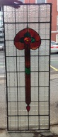 SOLD Original leadlight panel, floral motif, amber, orange and red with green leaf detail and clear ripple glass background 440 x 1215mm $350