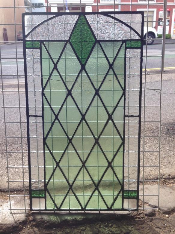 Original diamond pattern pale and deep green with clear glass leadlight window panel, 635 mm x 365 mm ,$200 stained glass salvage recycled demolition, reproduction restoration, renovation, collectable, secondhand, used, original, old, reclaimed heritage, antique restored stained glass